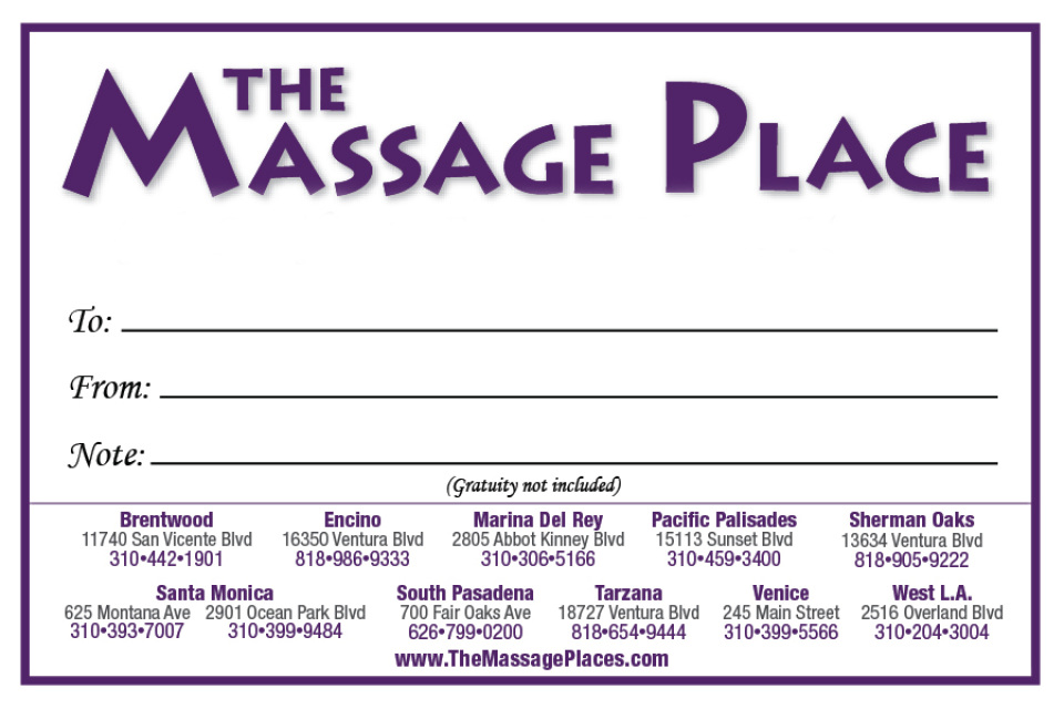 Gift certificates - THE MASSAGE PLACE